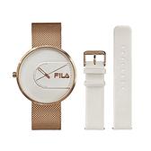【FILA 斐樂】簡約設計腕錶錶帶套組-玫瑰金x白/38-178-002-SET A/台灣總代理公司貨享兩年保固