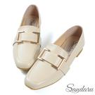 紳士鞋 精緻方釦皮革方頭鞋-米