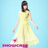 【SHOWCASE】女神氣質雪紡蕾絲飄逸無袖長洋裝(黃)
