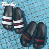 『潮段班』【HJ0A0029】夏季韓版經典條紋線條皮質防水防滑居家休閒拖鞋一字拖