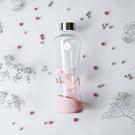 EQUA 花樣-耐熱曲線玻璃瓶550ml(粉色玉蘭) 水瓶 水壺 水杯 運動 隨身杯 抗冷耐熱 歐洲製造 好生活