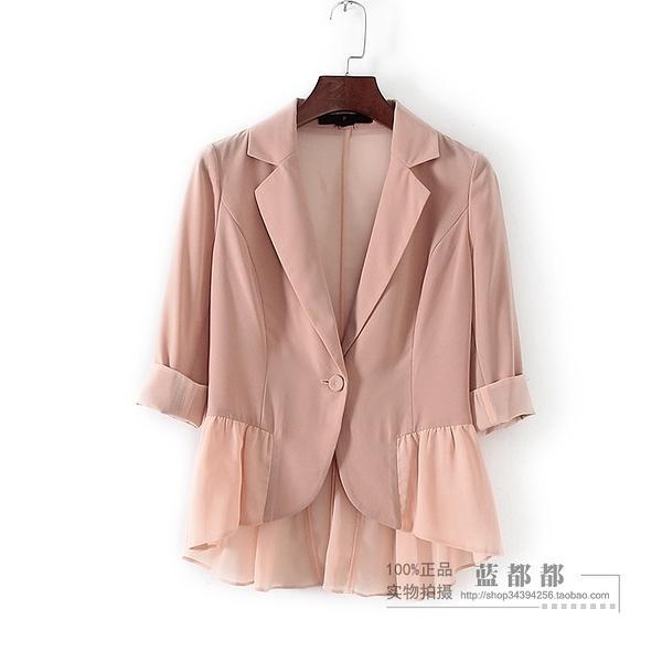 [超豐國際]面春夏裝女裝卡其色西裝式百搭外套 30849(1入)