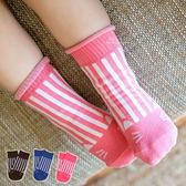 捲邊直條紋貓咪止滑短襪 童襪 短襪 印花襪