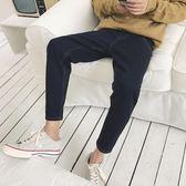 潮男褲腳拉鍊設計修身小腳褲男士韓版牛仔褲純色百搭牛仔長褲    初語生活