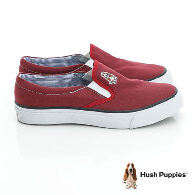 Hush Puppies經典中性咖啡紗懶人鞋-酒紅