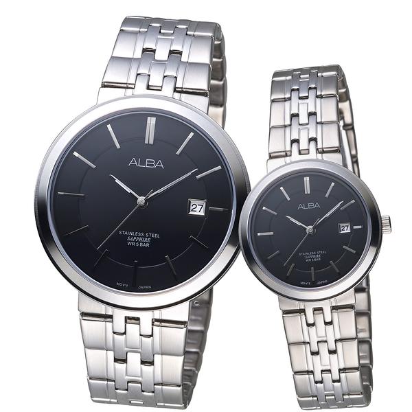 ALBA雅柏低調簡約時尚對錶 VJ42-X224N-VJ22-X254N 黑