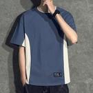 港風夏季拼接袖雙領T恤男寬鬆純棉開叉下擺短袖潮流個性撞色半袖「時尚彩紅屋」