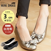 [Here Shoes]娃娃鞋-MIT台灣製OL上班族蝴蝶結低跟3CM坡跟包鞋娃娃鞋─AN525
