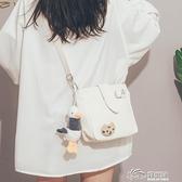 可愛小包包女2020新款潮古著感文藝帆布斜背包韓國ins校園單肩包