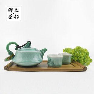手彩竹節茶具套裝 一壺二杯