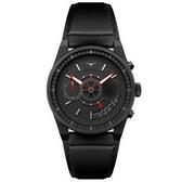 【台南 時代鐘錶 ZINVO】CHRONO BLACK 前衛設計強烈風格計時手錶 皮帶 電鍍黑 44mm 公司貨保固兩年