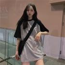 長款上衣 夏季韓版上衣原宿BF風寬鬆中長款ins情侶裝短袖T恤女學生 晶彩 99免運