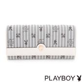 PLAYBOY- 翻蓋長夾 奇幻冰淇淋系列-琉璃白灰