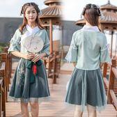 古裝漢服古風漢元素服飾日常古裝漢服新款女裝雨信繡花半裙套裝 茱莉亞嚴選