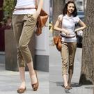 夏季女七分褲 薄款 百搭休閒褲 寬鬆大碼顯瘦鬆緊高腰純棉小腳褲 依凡卡時尚