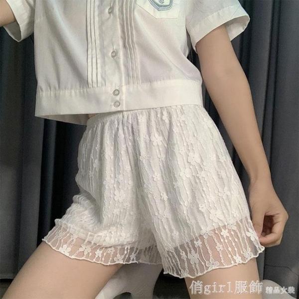 安全褲 安全褲jk女防走光白色lolita寬鬆蓬蓬女打底褲蕾絲內襯可外穿短褲 開春特惠