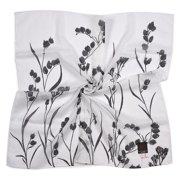 Sybilla風鈴花圖案純綿帕領巾(白色)989164-112