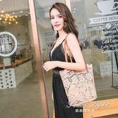 購物包 蕾絲包女手提包購物袋韓版托特包復古刺繡單肩包女包手袋 果果輕時尚