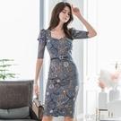 印花洋裝秋季新款韓版氣質女神范中袖修身包臀打底洋裝潮 檸檬衣舍