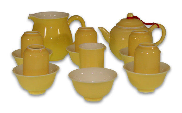 鹿港窯~居家開運珍藏~色釉茶具組【金黃釉茶具組(15入)】附精包裝◆免運費送到家