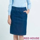 【RED HOUSE 蕾赫斯】合身鬆緊帶牛仔裙 (藍色)