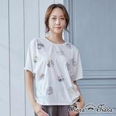 【Tiara Tiara】美式印章純棉五分袖上衣(白/紫/卡其)