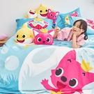 床包兩用被組 / 雙人加大【鯊魚寶寶海底漫遊-藍】含兩件枕套 戀家小舖台灣製 碰碰狐 Babyshark