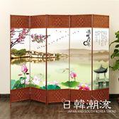 訂製      屏風隔斷簡易折疊客廳玄關墻移動折屏現代簡約時尚辦公室實木中式