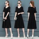 蕾絲洋裝女夏裝2020年新款韓版中長款修身洋氣短袖純色大碼連身裙子 HR239【俏美人大呎碼】