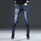 寬管褲 微彈刺繡牛仔褲男士潮牌潮流中國風青年拉鏈繡花彈力長褲子春季潮