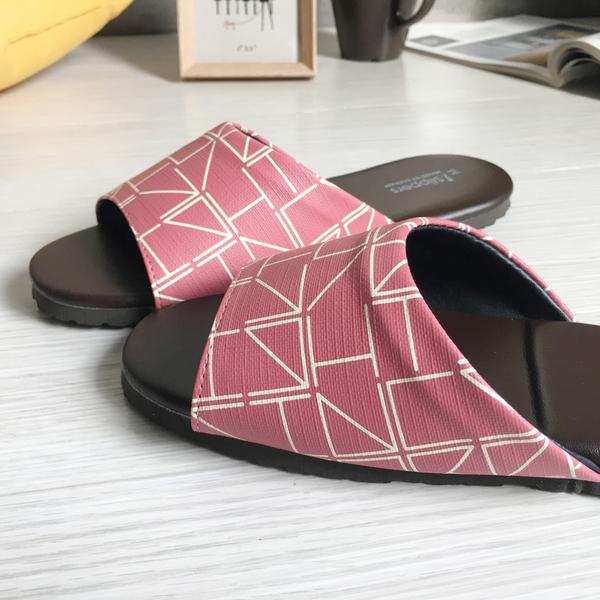 經典系列-皮質室內拖鞋-個性方格-粉