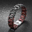 《 QBOX 》FASHION 飾品【L100N1149】精緻個性簡約車鏈環扣式黑棕皮革手鍊/手環