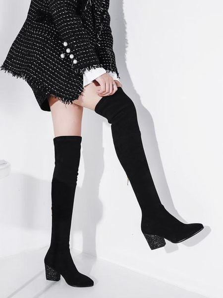 過膝靴高跟鞋女鞋女靴秋冬靴子彈力高筒長靴長筒靴子   艾維朵