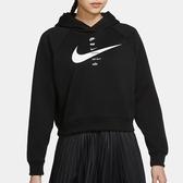NIKE Sportswear Swoosh 女裝 長袖 帽T 短版 刷毛 印花 黑【運動世界】CU5677-011