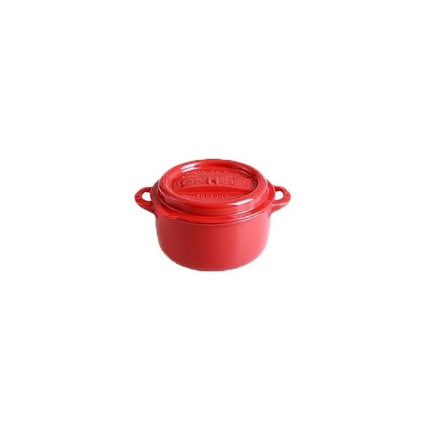 【日本YAMADA】可微波加熱鑄鐵鍋造型密封保鮮盒-圓形款M號 (三色可挑選)