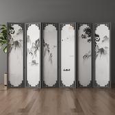 新中式屏風隔斷牆客廳簡約現代裝飾辦公茶室行動摺疊實木酒店定制