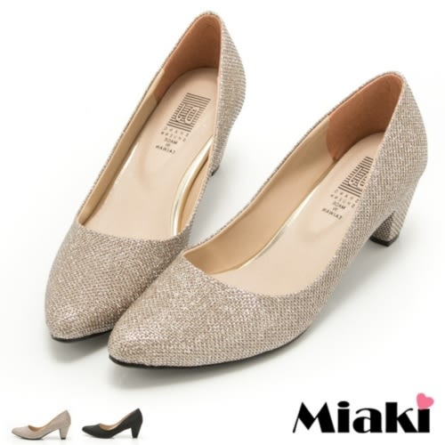 高跟鞋韓版設計閃耀粗跟包鞋(MIT)
