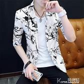 夏季七分袖小西裝男外套韓版修身發型師中袖西服青年帥氣印花潮流