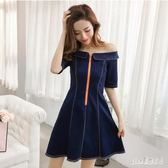 大碼 2019春裝新款韓版牛仔洋裝學生A字裙女士一字肩甜美氣質短裙 js23361『Pink領袖衣社』