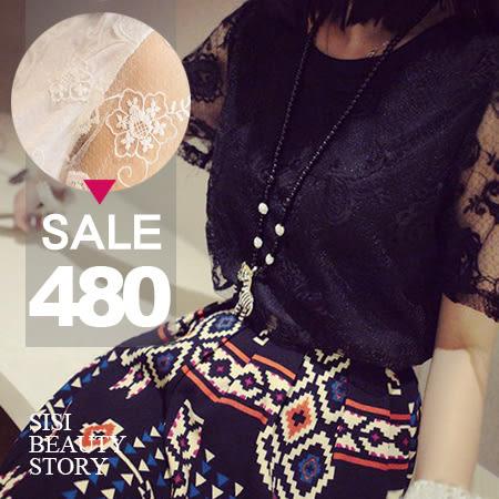 SISI【E4002】清新透視感圓領短袖蕾絲上衣+復古幾何花紋印花短裙兩件式套裝