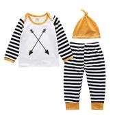 長袖套裝 棉質居家服 條紋撞色 兒童睡衣 長袖上衣 縮口長褲 寶寶帽 童裝 SK9291 好娃娃