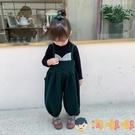 兒童背帶褲秋裝童裝吊帶褲子寶寶休閒毛呢長褲【淘嘟嘟】