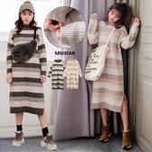 現貨-MIUSTAR 大地配色橫條小立領坑條針織洋裝(共2色)【NF142CCS】