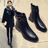 靴子女粗跟短靴2021年新款百搭秋款小跟平底秋冬季女鞋瘦瘦加絨馬丁靴 百分百