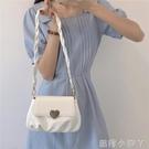 小眾設計包包女包柔軟皮質桃心扣褶皺小圓包2020新款潮單肩斜挎包 蘿莉新品