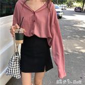 夏裝新款韓版chic寬鬆顯瘦V領長袖雪紡衫女學生休閑開衫上衣外套 潔思米