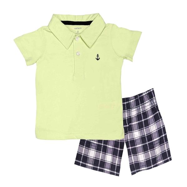男寶寶套裝二件組 短袖POLO杉上衣+短褲 黃船勾 | Carter s卡特童裝 (嬰幼兒/小孩/baby)