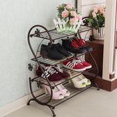 歐式鐵藝鞋架多層實木簡易客廳不銹鋼收納鞋櫃鐵架子經濟型置物架WY年貨慶典 限時鉅惠