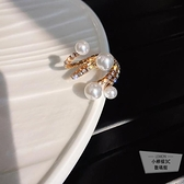 纏繞珍珠開口食指戒指網紅指環女【小檸檬3C】