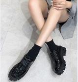 小皮鞋 鞋子女2019新款秋冬百搭ins網紅超火英倫風厚底松糕鞋小皮鞋單鞋TB
